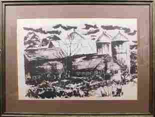 Expressionist Etching of a Barn and Silos