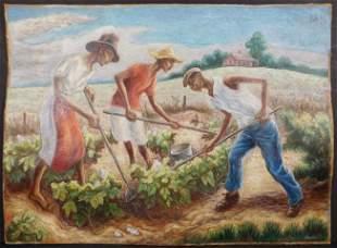 Thomas Hart Benton, Manner of: Chopping Cotton