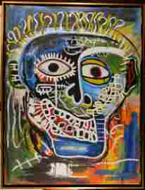 Jean-Michel Basquiat Attributed: Face with Large Smile