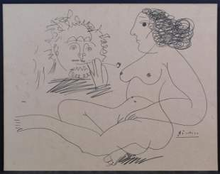 Pablo Picasso Manner of:  Nude with Onlooker