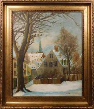 View of a Snowy Scandinavian Town