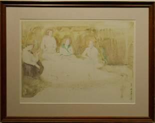 Jean Harris: Picnic, 1975 Watercolor