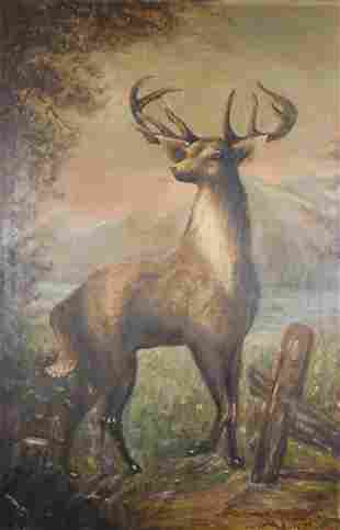 American Primitive Deer Painting