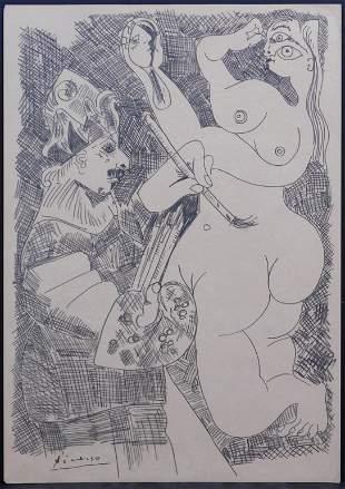 Pablo Picasso Manner of: Artiste et Nu