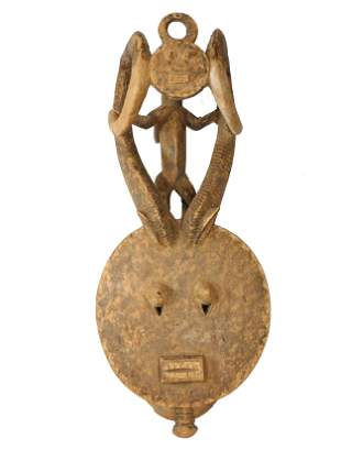 Kple-Kple Goli Mask w/Elaborate Horns, Baule, Ivory
