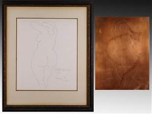 After Pablo Picasso: Nu De Dos. Etching Plate and