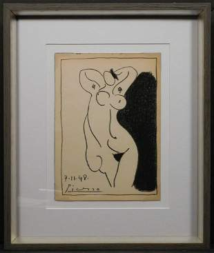Pablo Picasso, Attributed: Sketch of Nude Woman