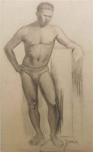 Einar Arvid Barck: Male Figure Study with Podium