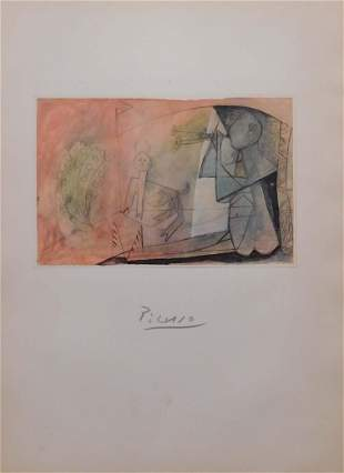Pablo Picasso, After: Signed Lithograph,  Homme Assis