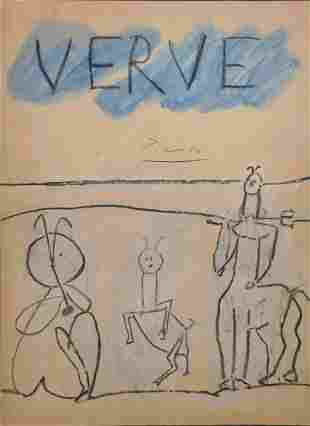 Pablo Picasso , After: Signed Back Cover of Verve