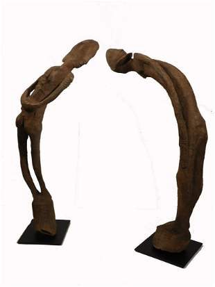 """African Tribal Art """"Leaning"""" Figures"""