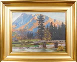 Franz Arthur Bischoff Attributed Western Landscape