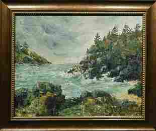 Apperson: Rocky Coast Oil Painting c.1960