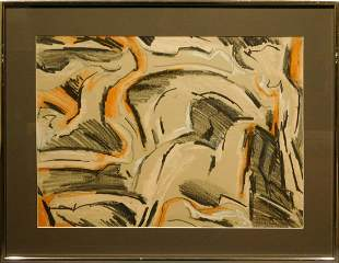 Helen Vaisnoris: Abstract Composition, Pastel c.1965
