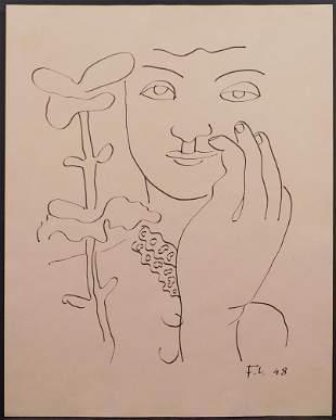 Fernand Leger, Manner of/ Attributed: Femme a la Fleur