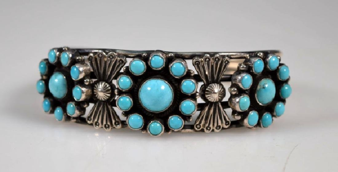 D Cadman Signed; Turquoise & Sterling Bangle