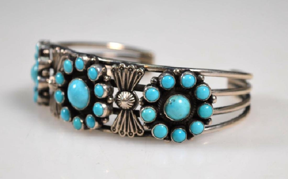 D Cadman Signed; Turquoise & Sterling Bangle - 2