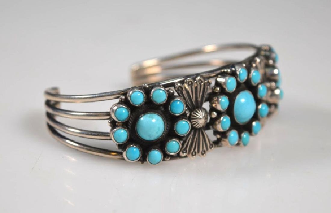D Cadman Signed; Turquoise & Sterling Bangle - 3