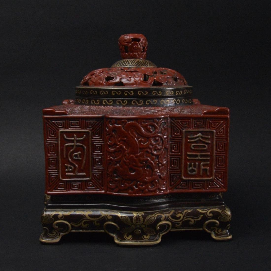 CHINESE LACQUER STYLE PORCELAIN CENSER