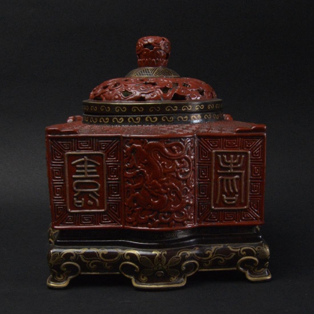 CHINESE LACQUER STYLE PORCELAIN CENSER - 3