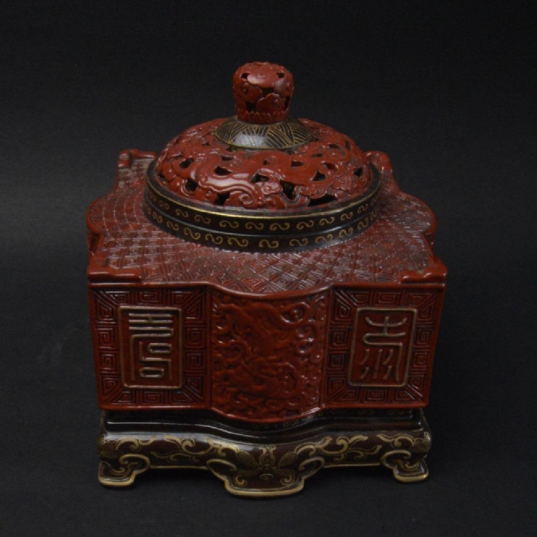 CHINESE LACQUER STYLE PORCELAIN CENSER - 4
