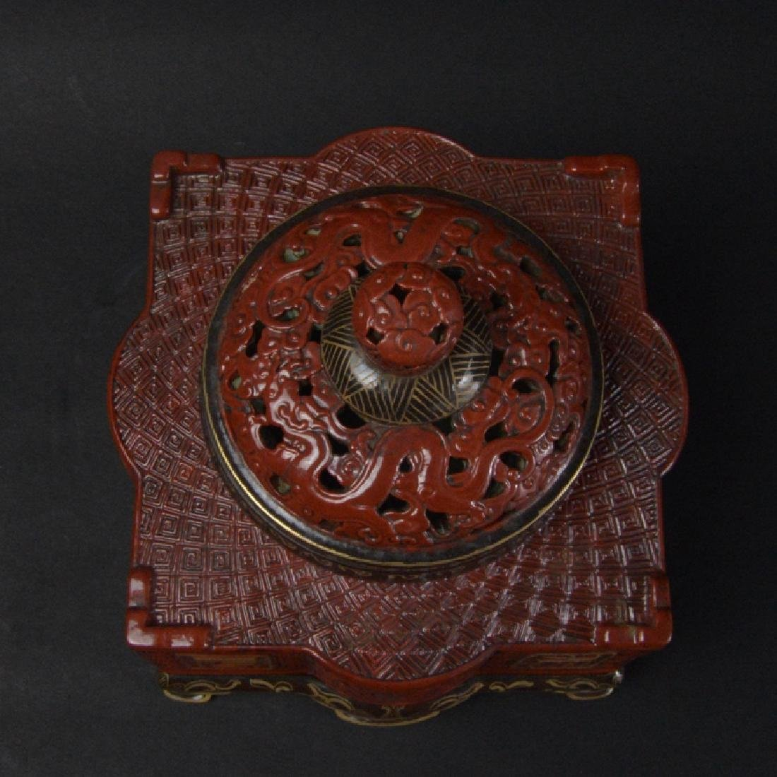 CHINESE LACQUER STYLE PORCELAIN CENSER - 5