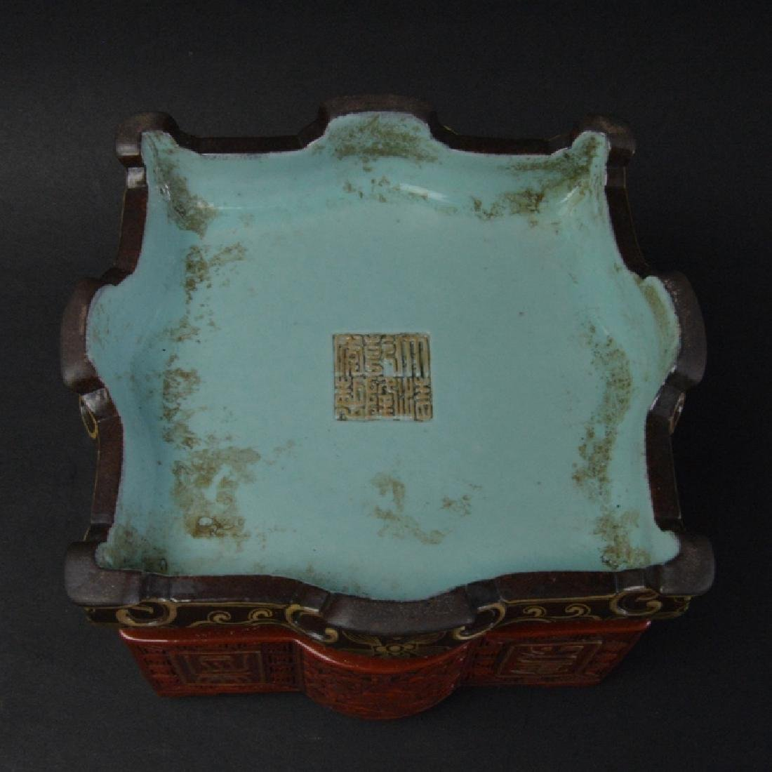 CHINESE LACQUER STYLE PORCELAIN CENSER - 6