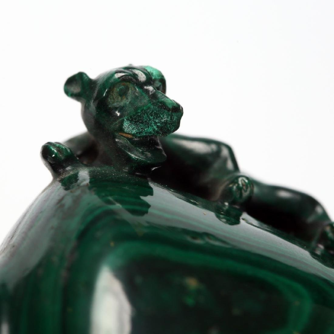 CHINESE CARVED MELACHITE SNUFF BOTTLE - 9