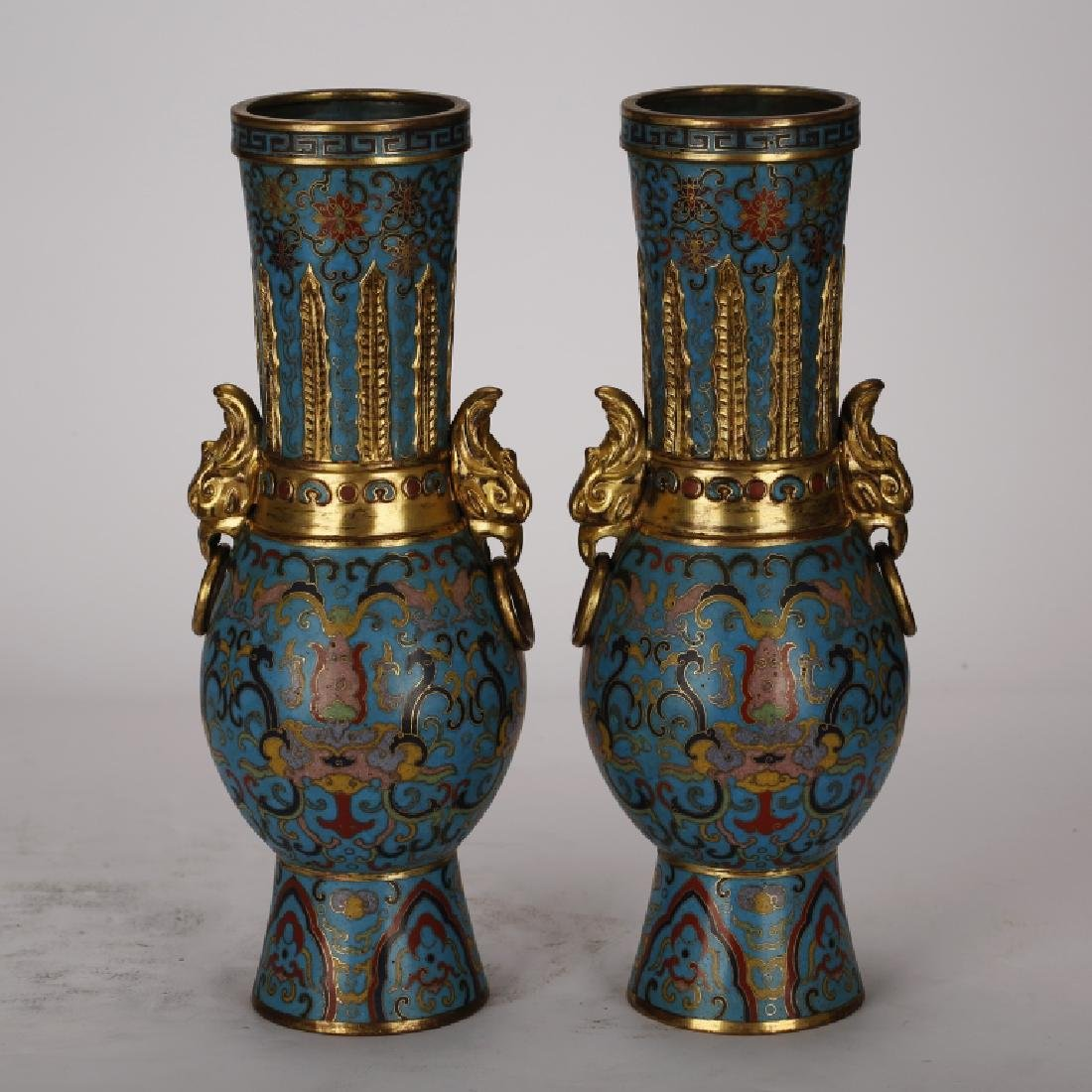 PAIR OF CHINESE CLOISONNE GILT VASES