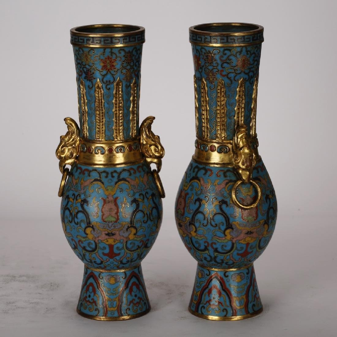 PAIR OF CHINESE CLOISONNE GILT VASES - 2