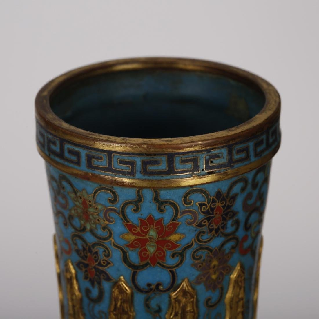 PAIR OF CHINESE CLOISONNE GILT VASES - 3