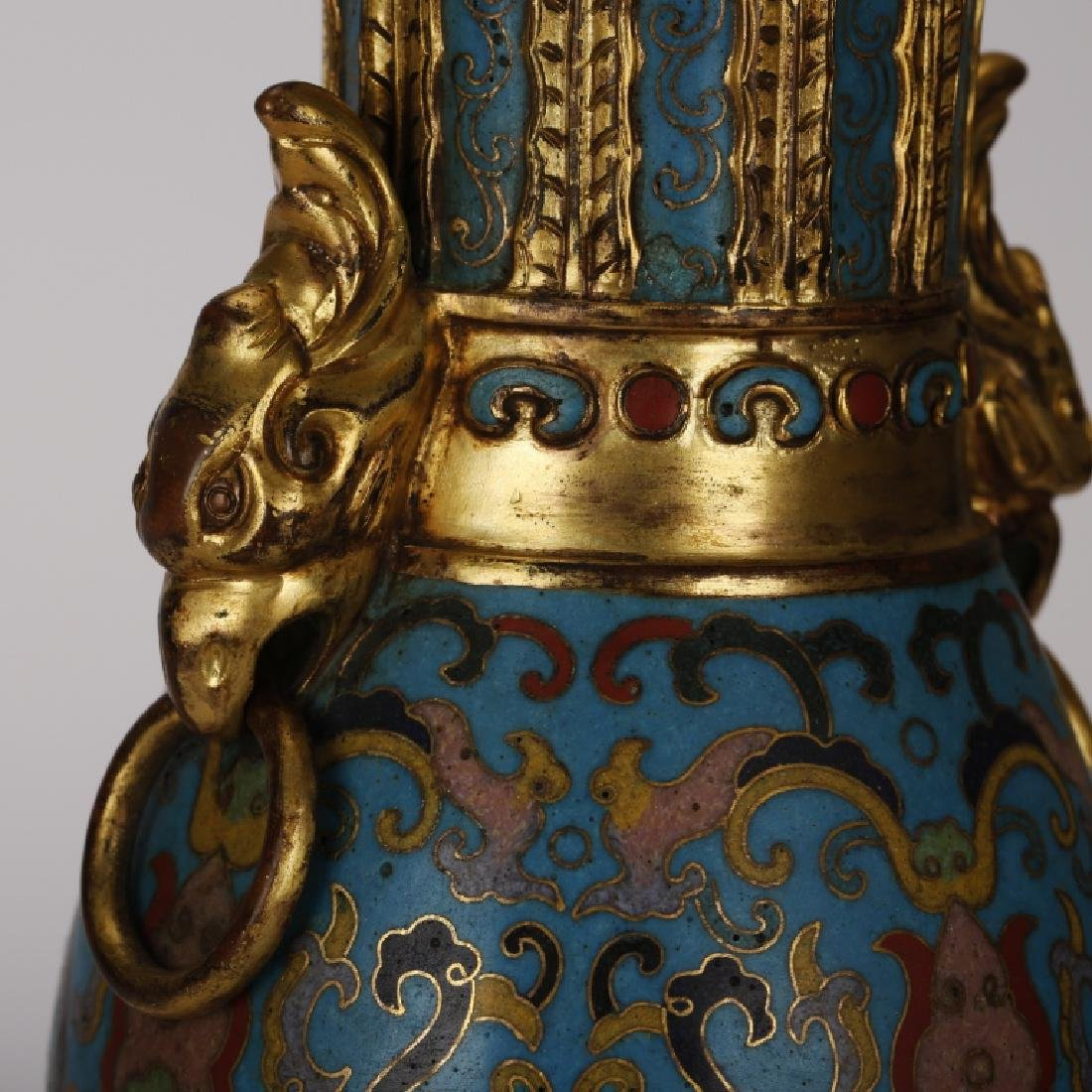 PAIR OF CHINESE CLOISONNE GILT VASES - 4
