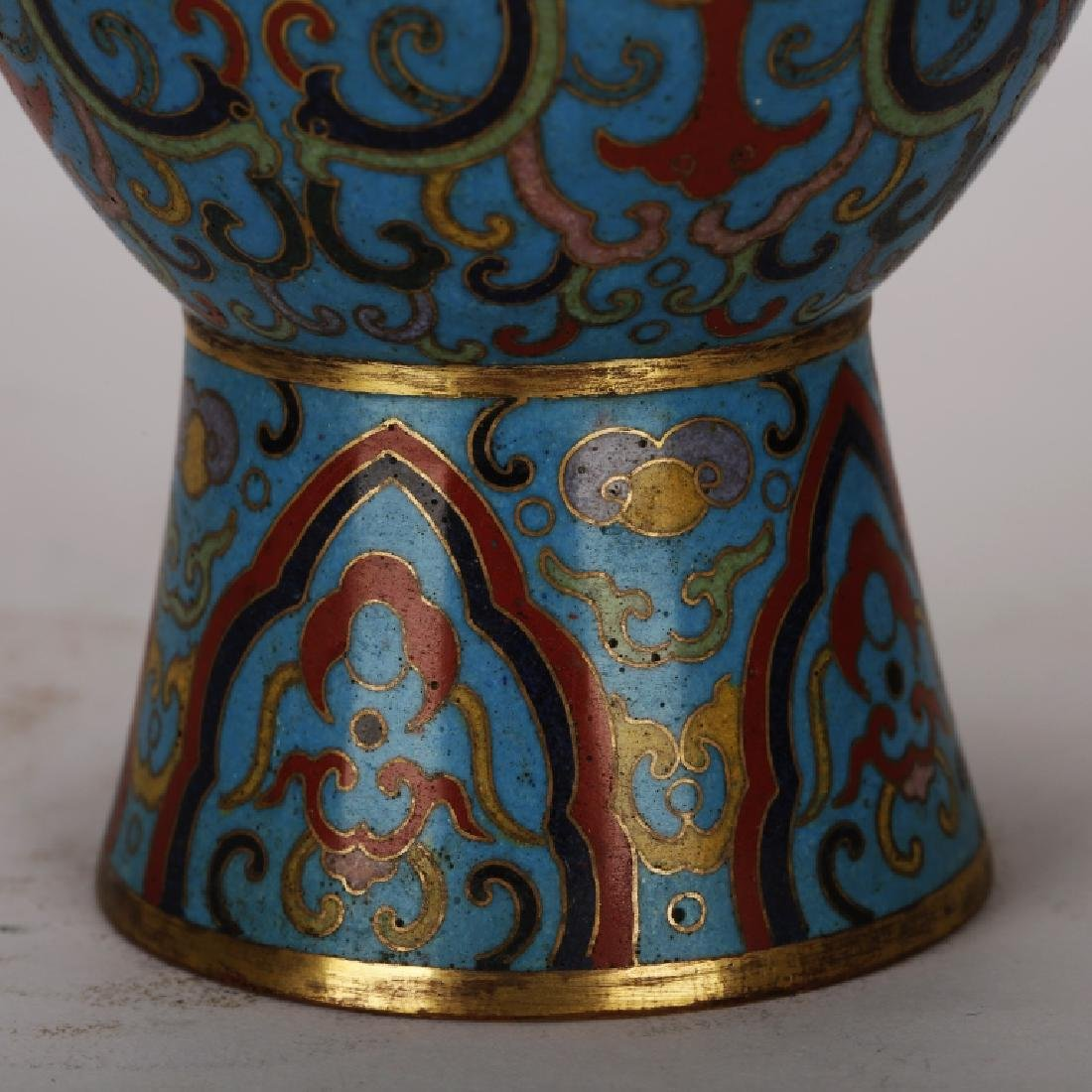 PAIR OF CHINESE CLOISONNE GILT VASES - 6