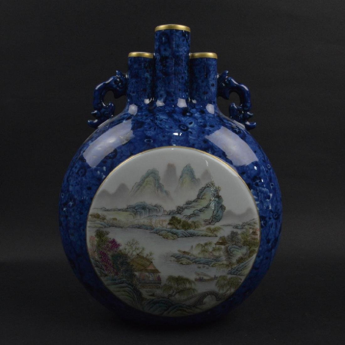 CHINESE BLUE GRAZED & FAMELLI ROSE MOON VASE