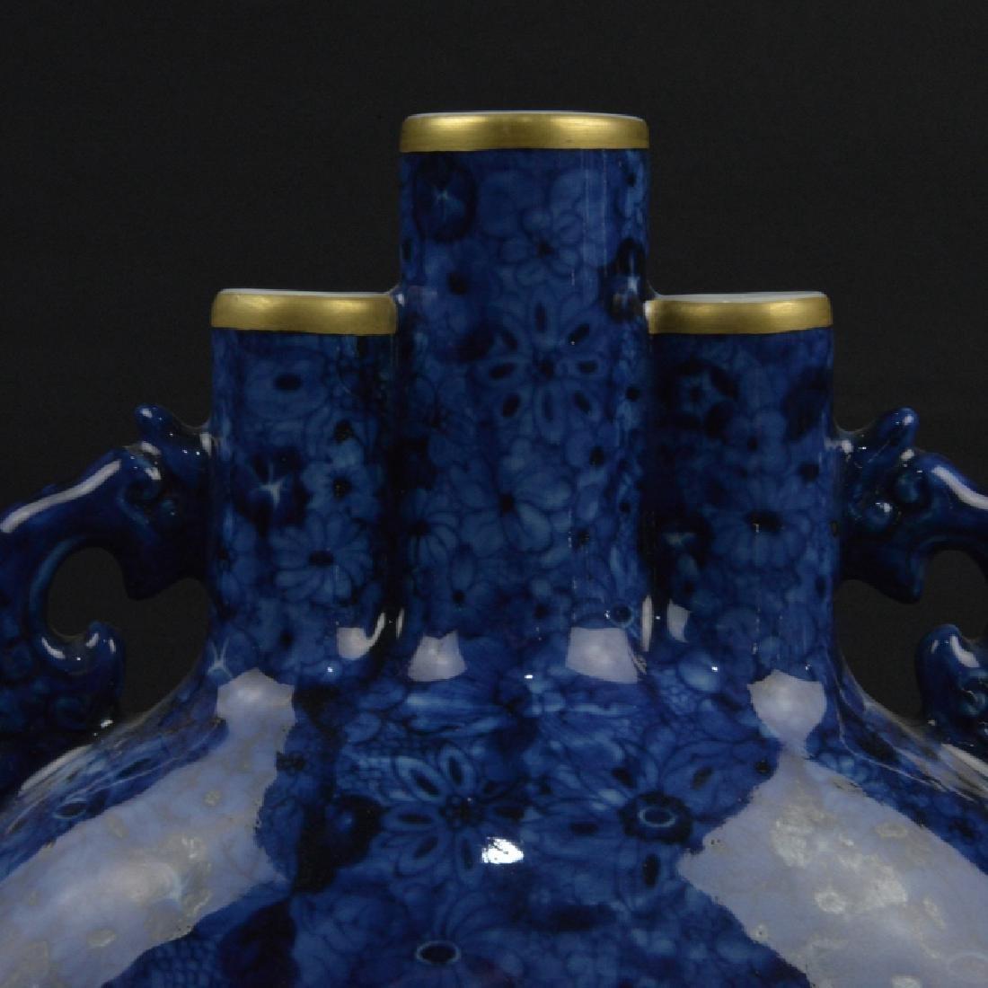 CHINESE BLUE GRAZED & FAMELLI ROSE MOON VASE - 3