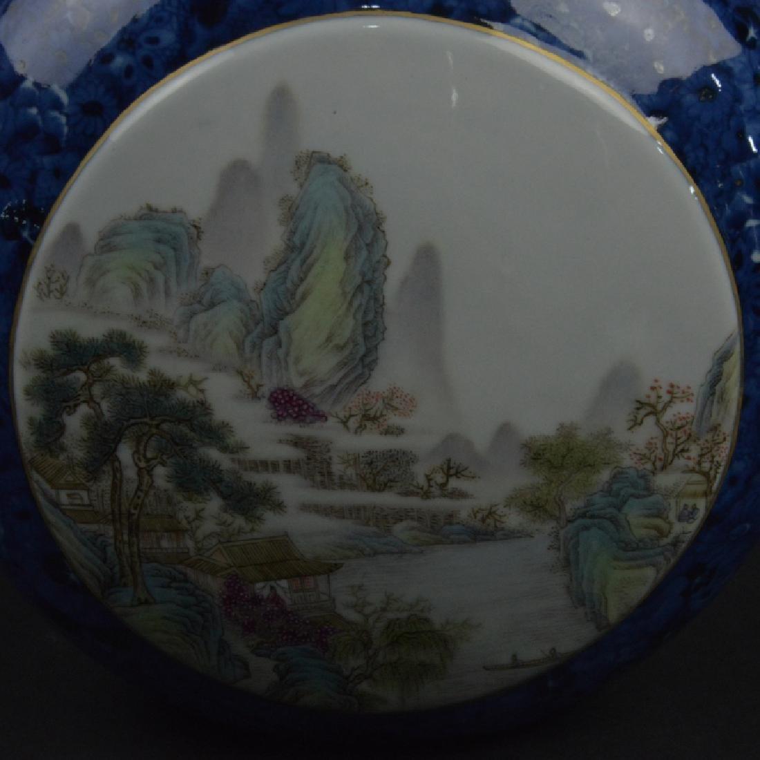 CHINESE BLUE GRAZED & FAMELLI ROSE MOON VASE - 4
