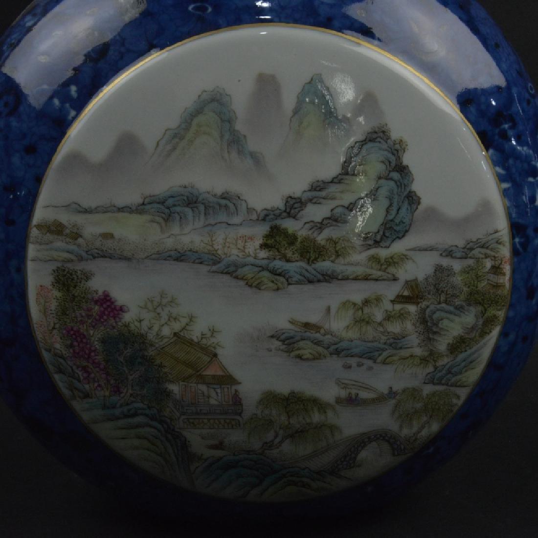 CHINESE BLUE GRAZED & FAMELLI ROSE MOON VASE - 5