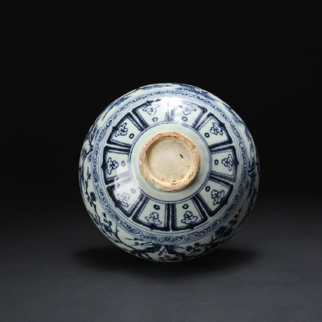 CHINESE QING BLUE & WHITE FLOWER BOWL - 10
