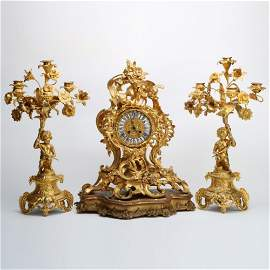French 19 C Gilt Bronze Clock & Candlesticks
