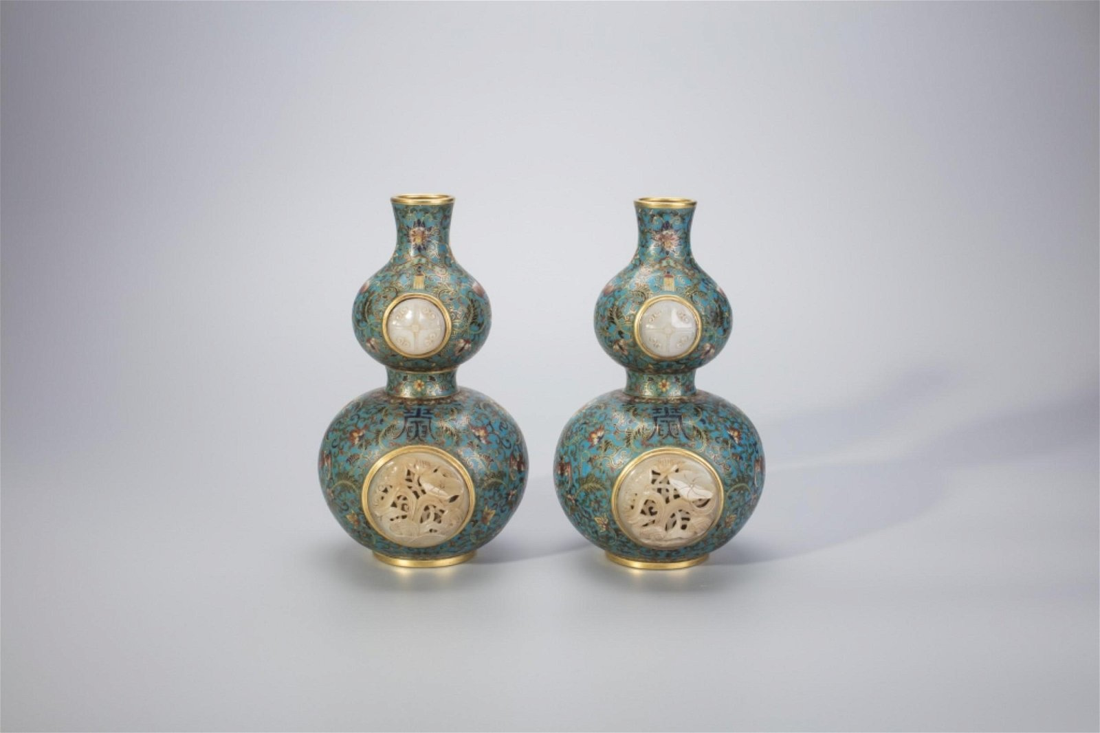 Pair Chinese Cloisonne & Jade Double Gourd Vases
