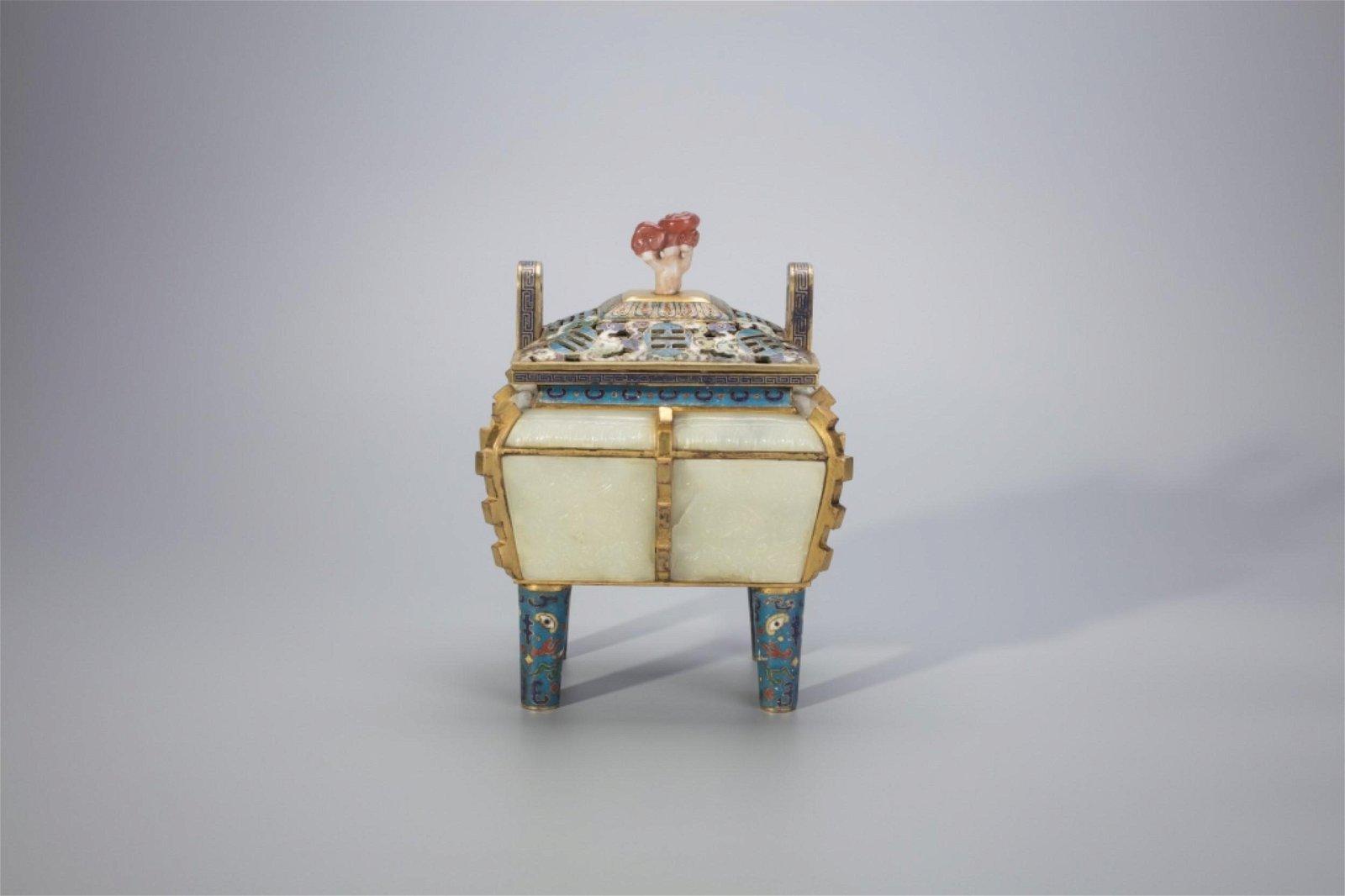 Chinese Jade Paneled Cloisonne Incense Burner