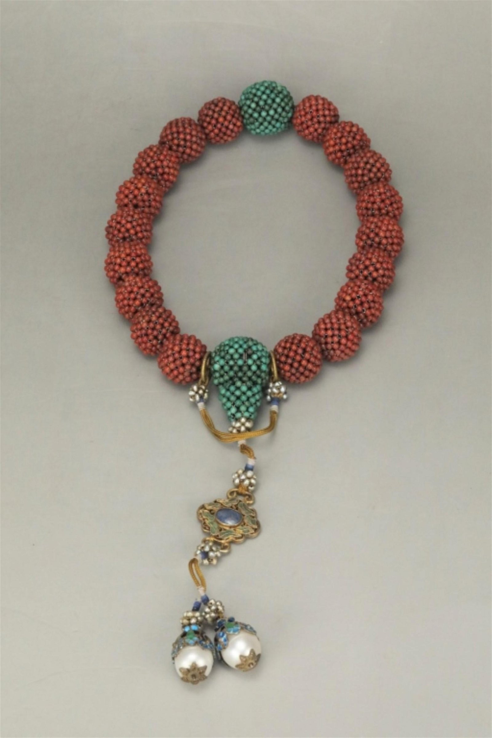 Chinese Woven Coral Bead 18 Bead Bracelet