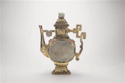 Chinese Gilt Silver Carving Jade Wine Pot