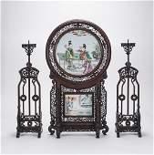 Chinese Porcelain & Wood Screen; Pr Candlesticks
