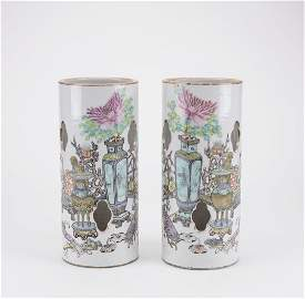 Mirror Pair Chinese Porcelain Hat Stands