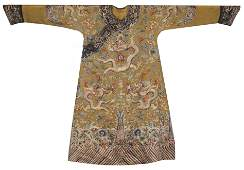 Chinese Yellow Silk Embroidered Dragon Summer Robe