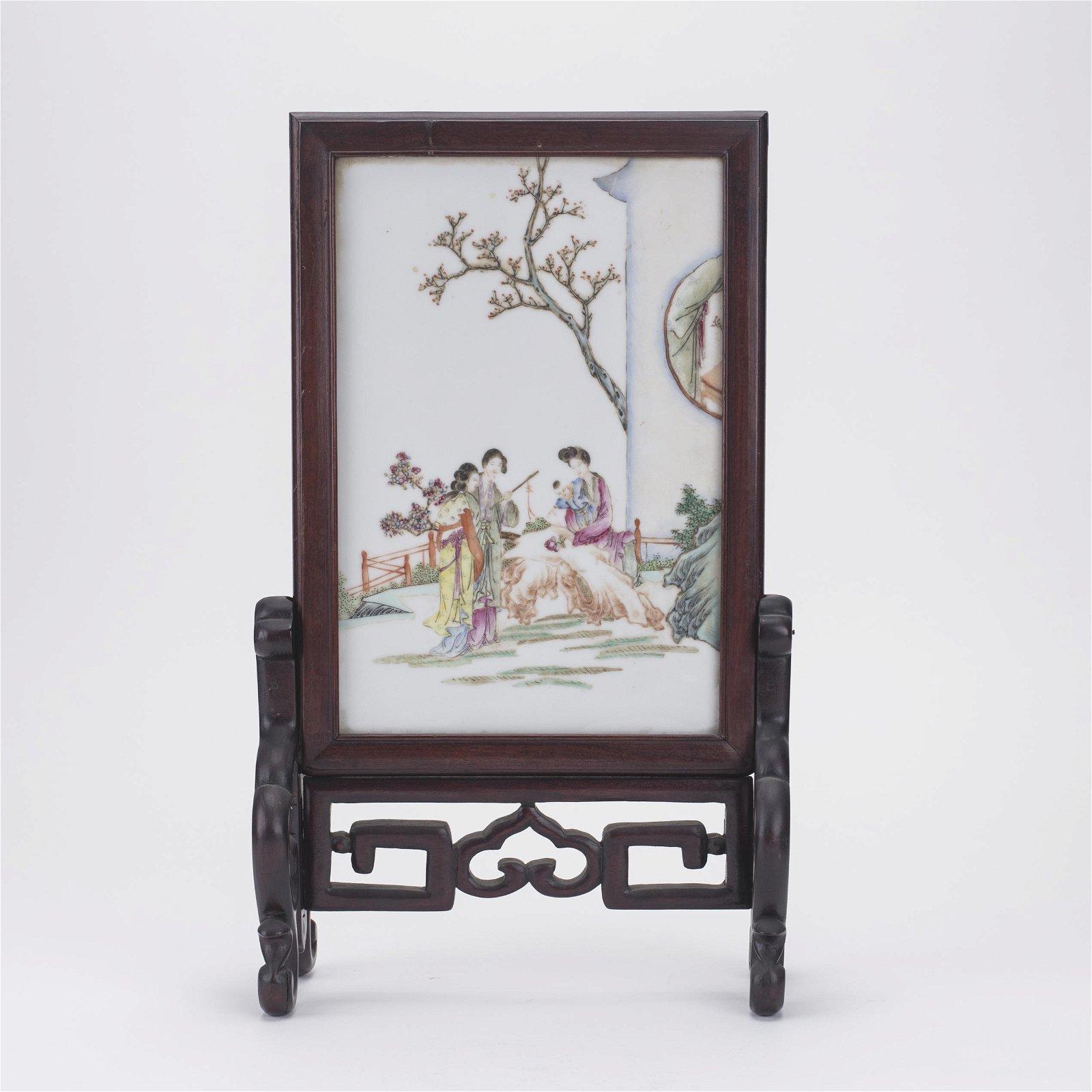 Chinese Enamel Plaque Hardwood Table Screen