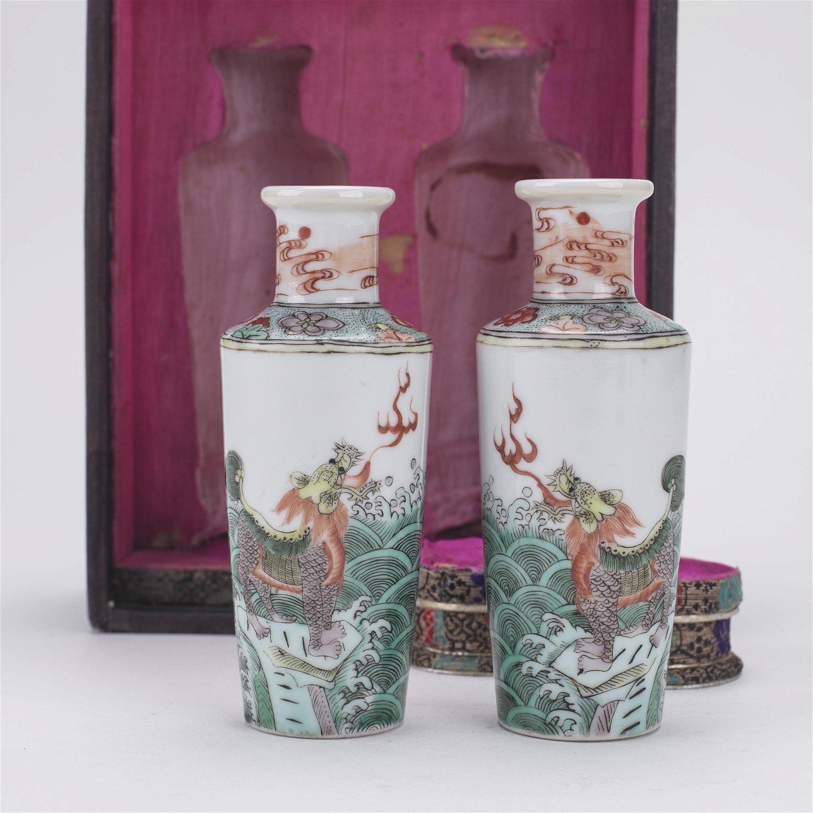 Mirror Pair Chinese Famille Verte Porcelain Vases