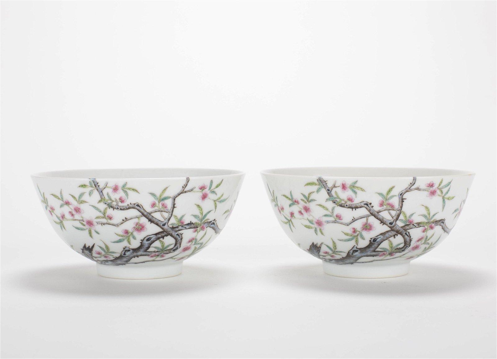 Pair Chinese Fencai Peach Blossom Porcelain Bowls