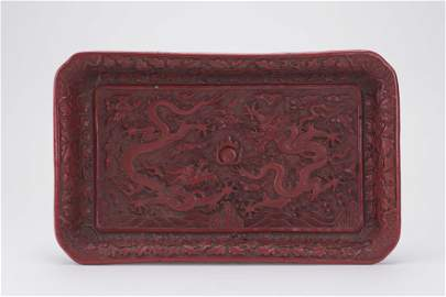 Chinese Cinnabar Red Lacquer Dragon Tray